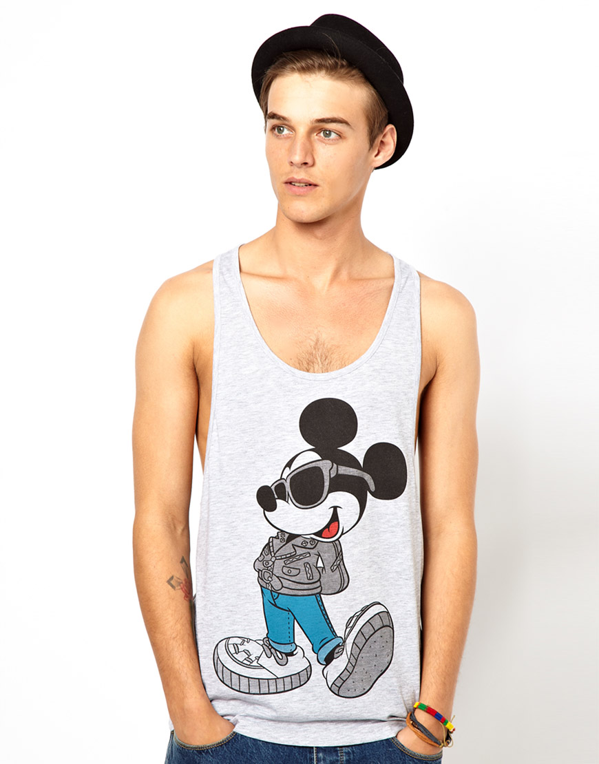 485b785371f6f Lyst - ASOS Tank with Mickey Mouse Print in Gray for Men