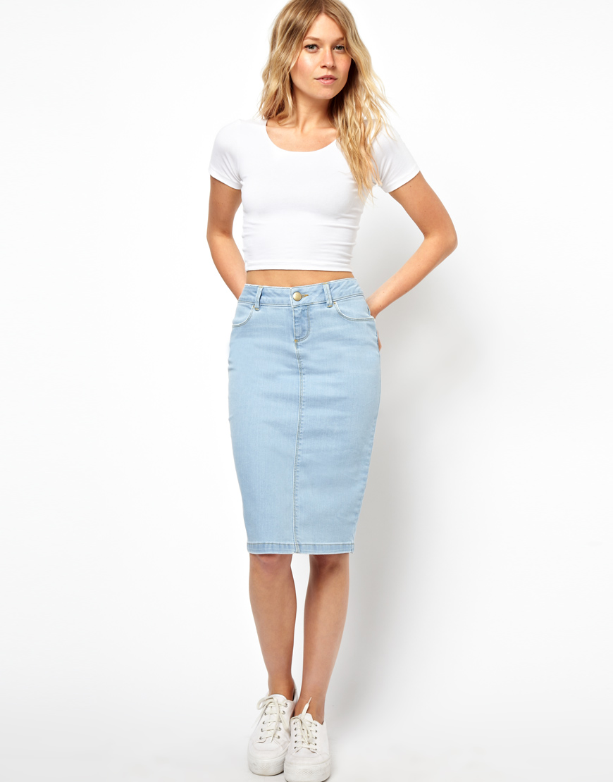 Asos Ultra Denim Pencil Skirt in Vintage Wash in Blue | Lyst