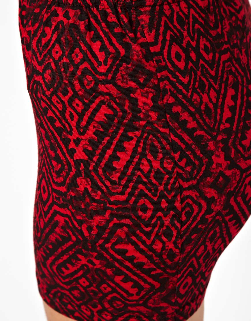 Asos Micro Mini Skirt in Tribal Print in Red | Lyst