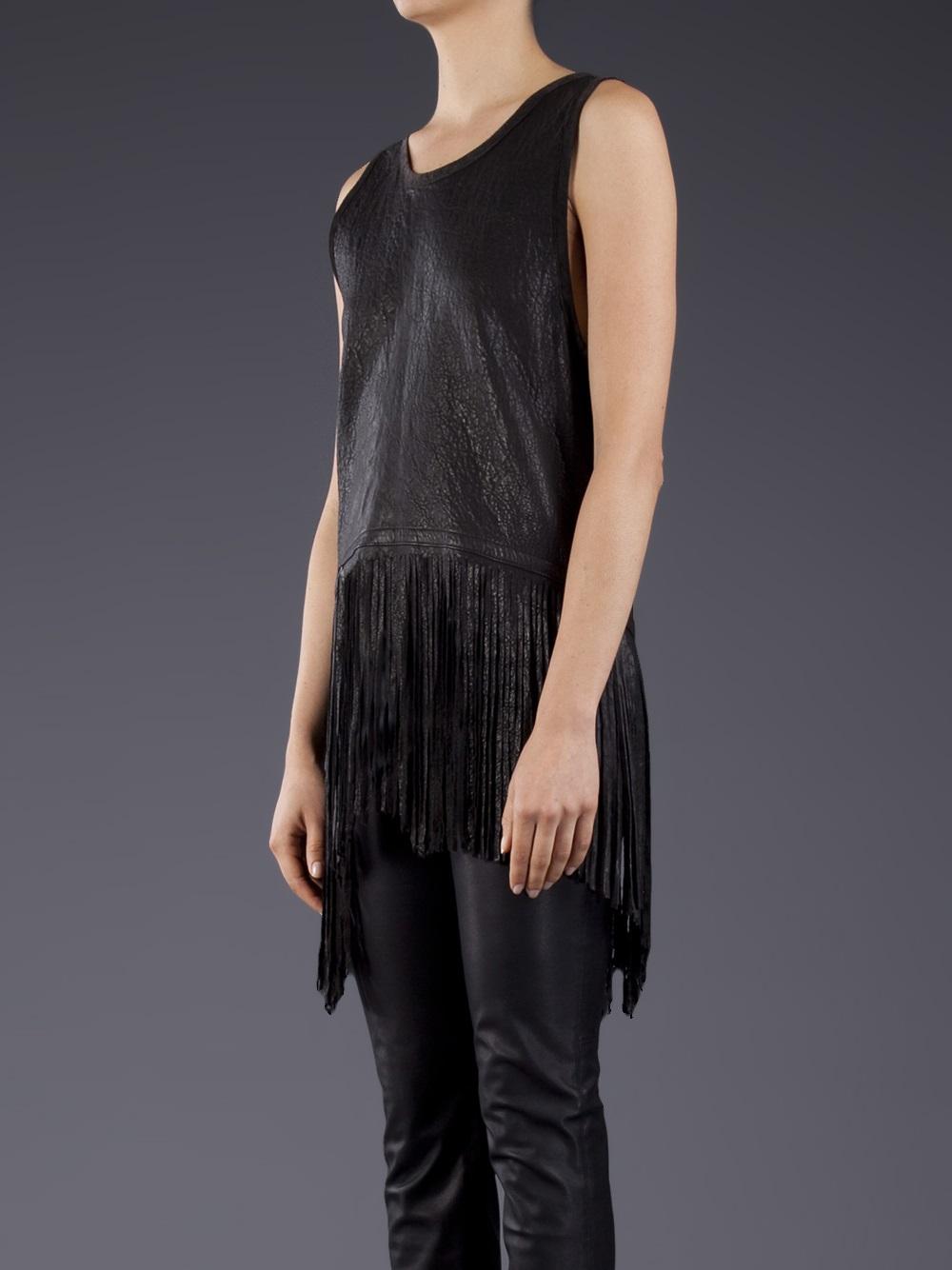 Erro Leather Fringe Top In Black Lyst
