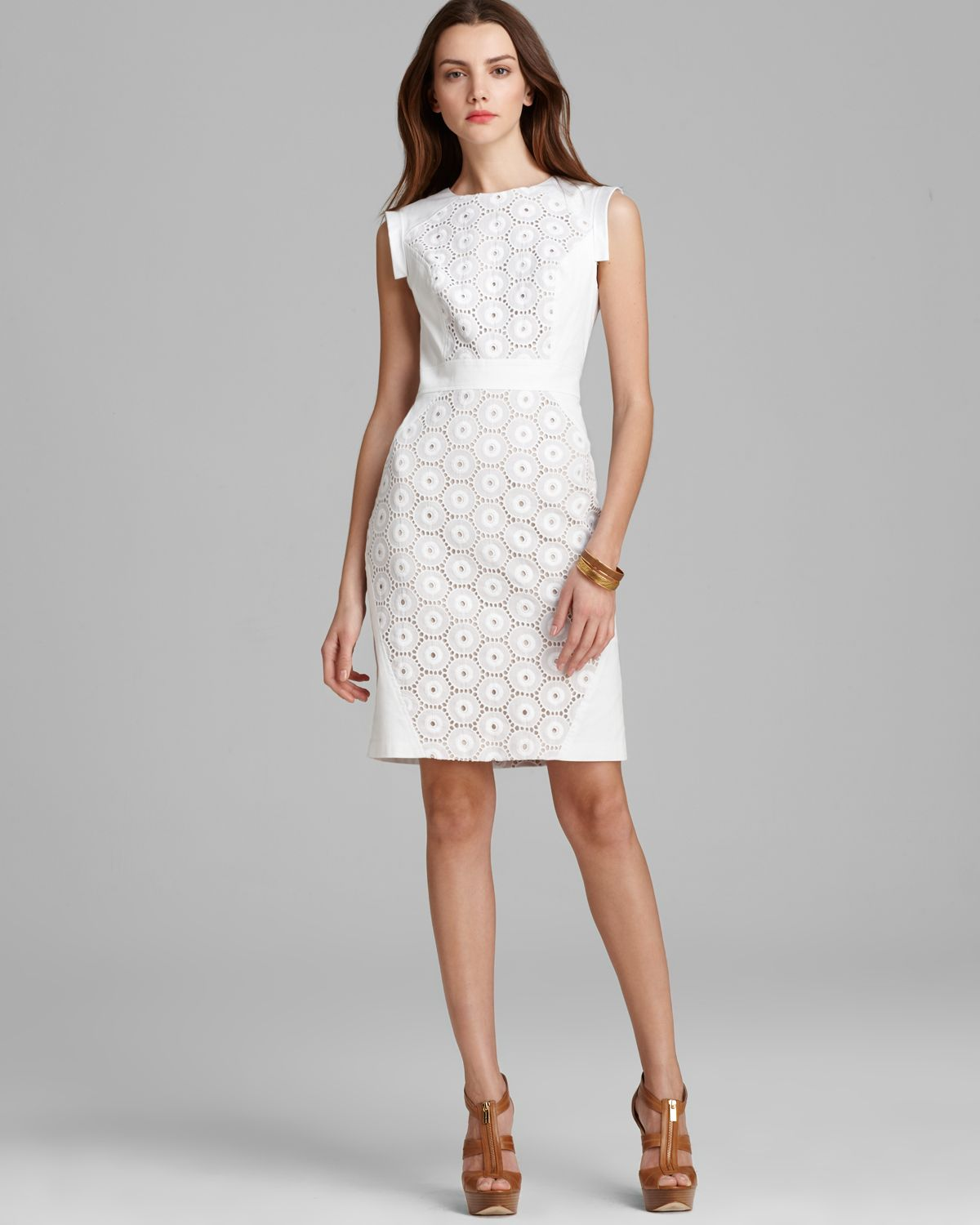 Adrianna papell Sheath Dress Sleeveless Eyelet Panel in White | Lyst