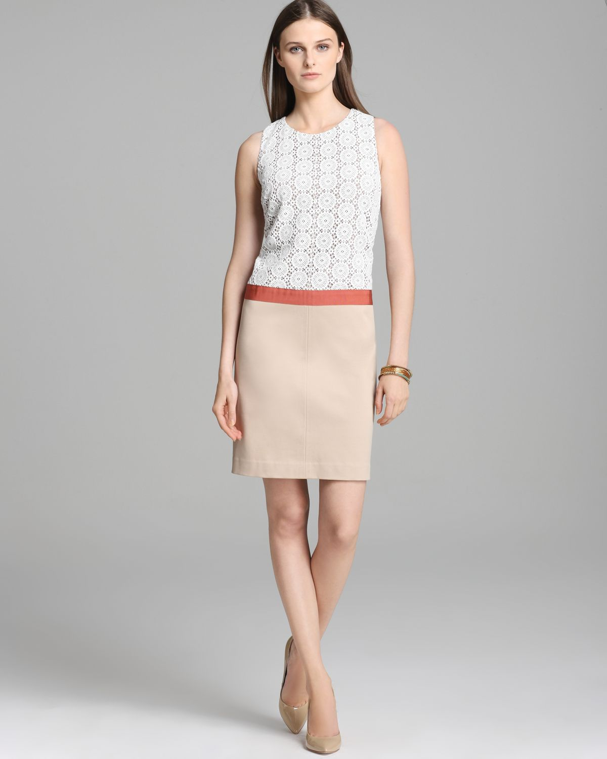 Lyst Anne Klein Dress Color Block Lace Top Dress In White