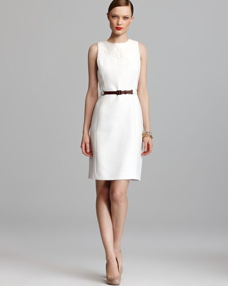 klein dress sleeveless embroidered belted sheath in