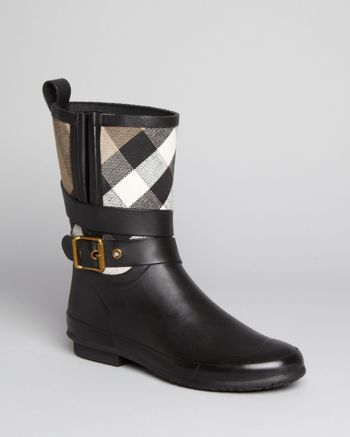 Burberry Rain Boots Holloway Mid Buckle Check In Black