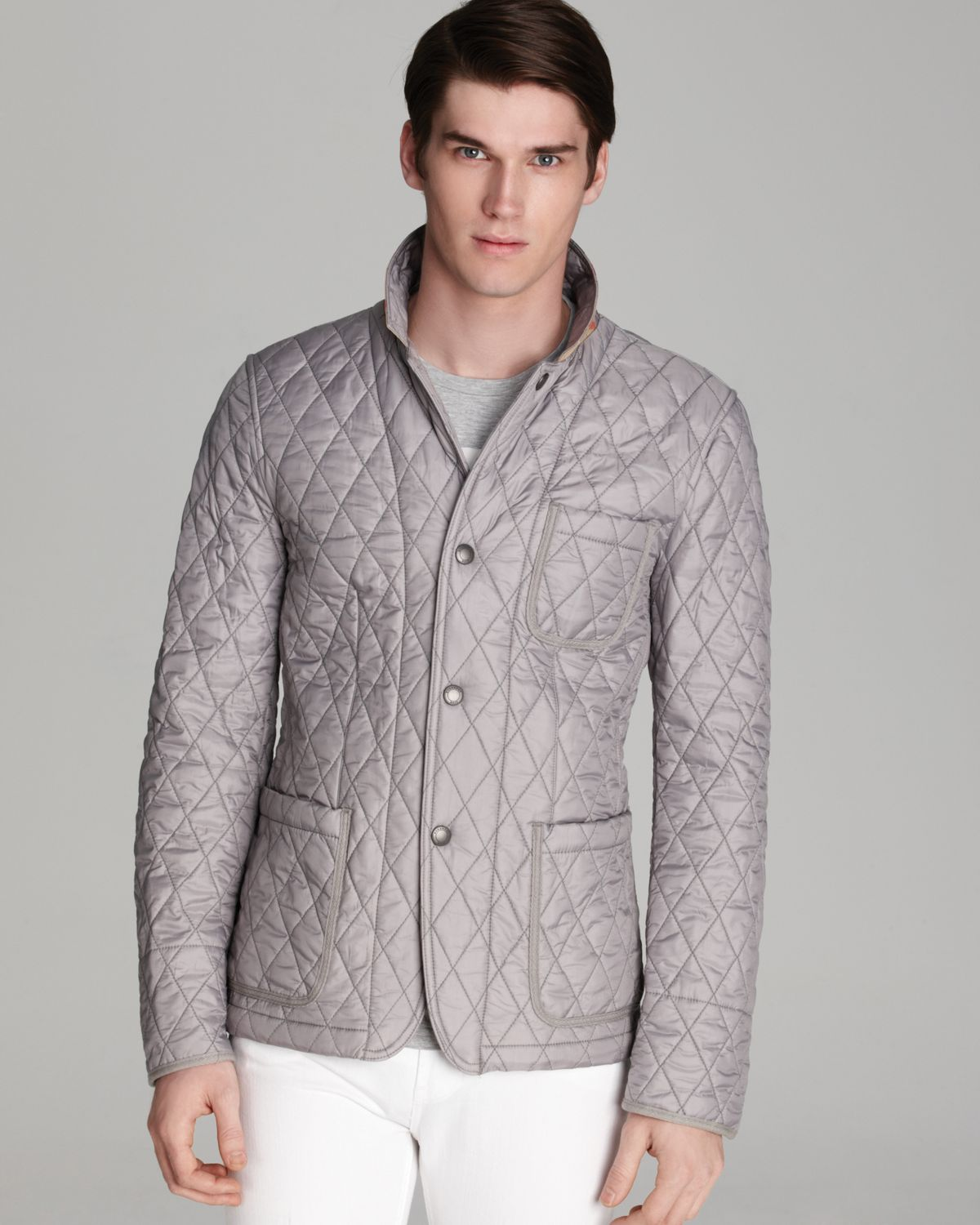 products outerwear quilt mens lined burberry men enlarged check quilted brit jacket nova