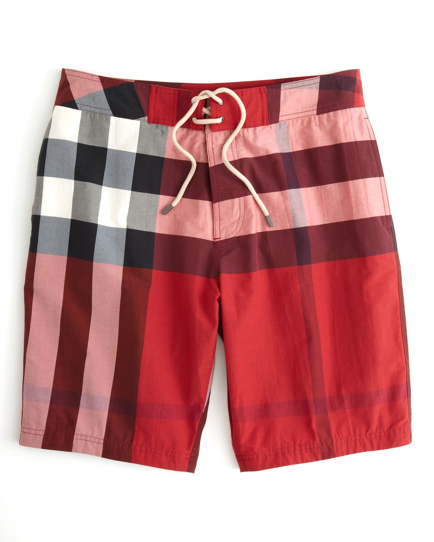 f88c17f1cd Burberry Brit Laguna Check Swim Trunks in Red for Men - Lyst