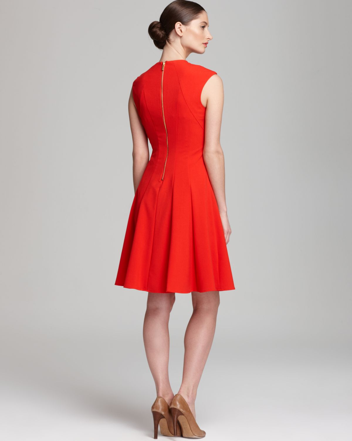 Calvin Klein Dress Cap Sleeve Fit Flare In Red Lyst