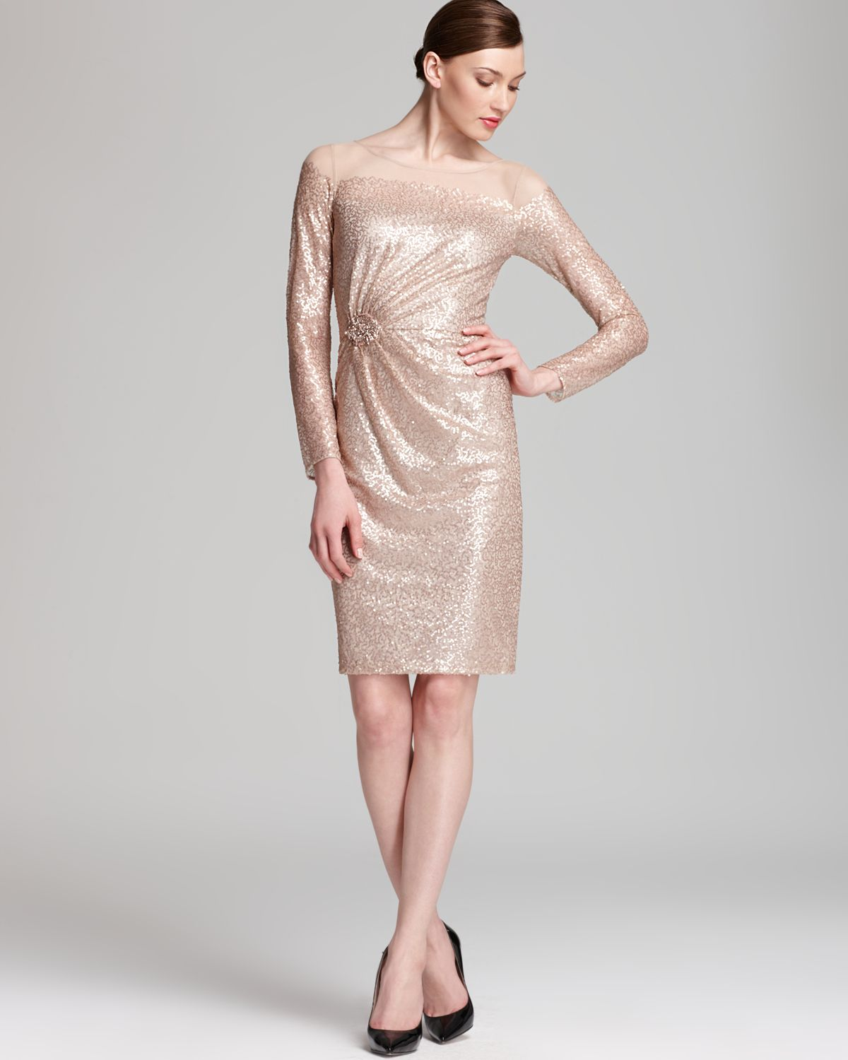 David meister Sequin Dress Illusion Long Sleeve in Natural | Lyst