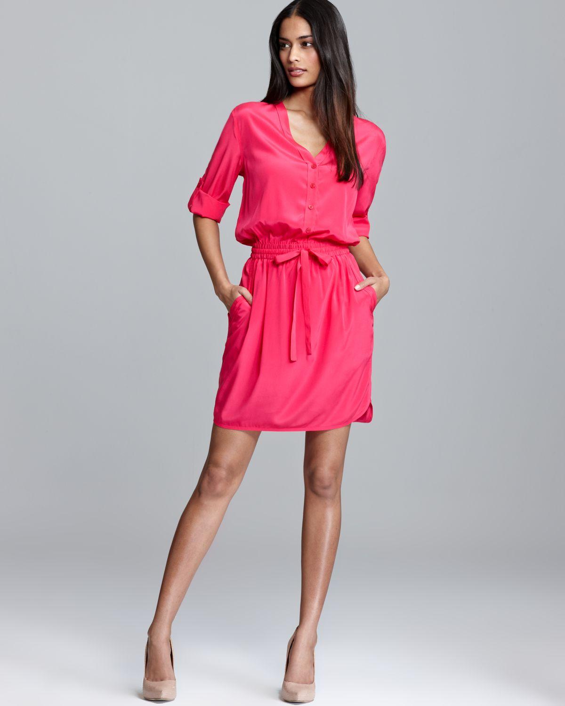 Dkny Three Quarter Sleeve V Neck Shirt Dress In Pink