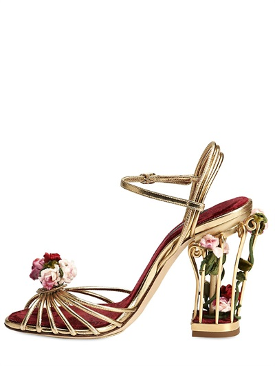 Lyst Dolce Amp Gabbana 105mm Rose Calf Leather Cage Sandals