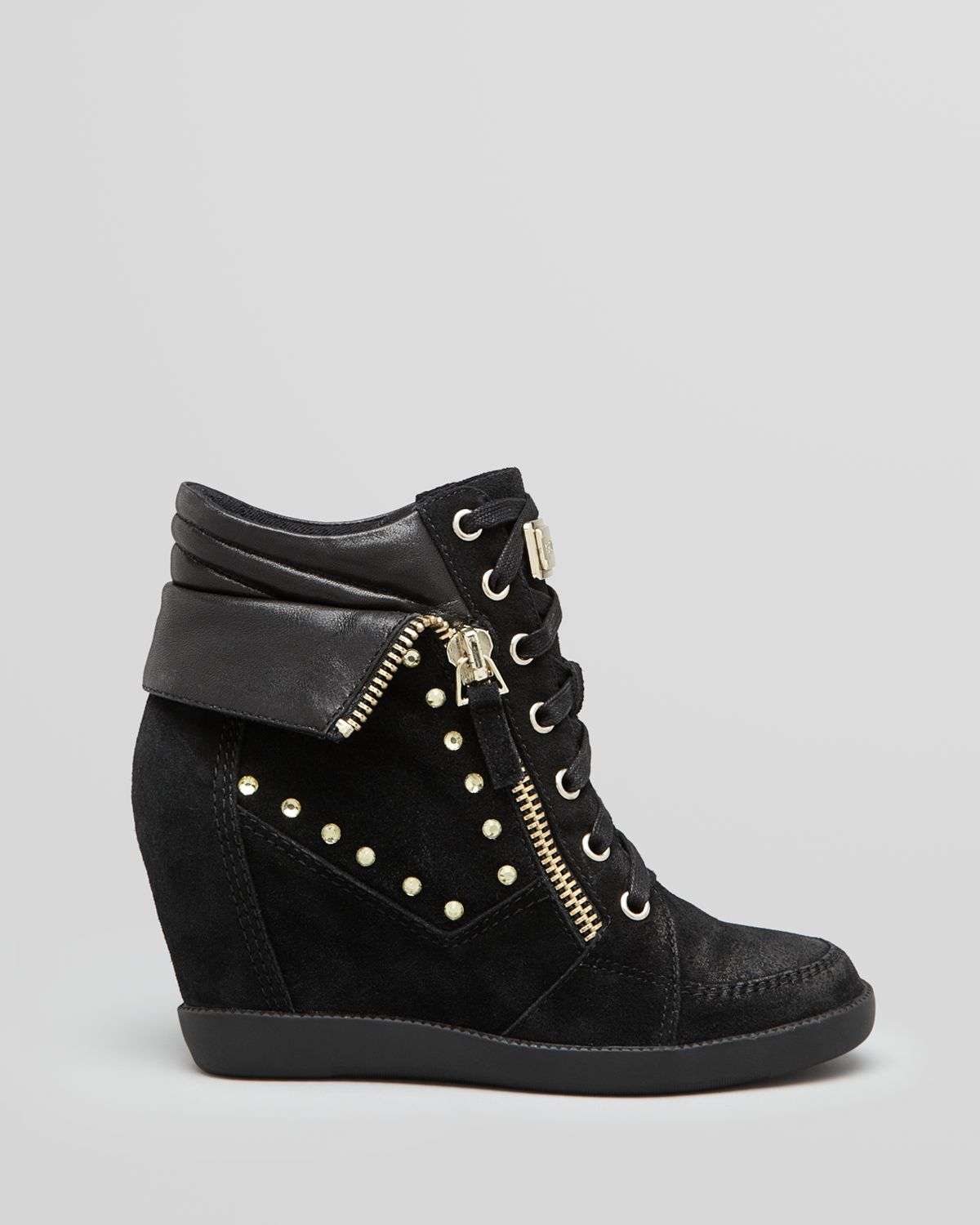 lyst guess wedge sneakers hitzo in black