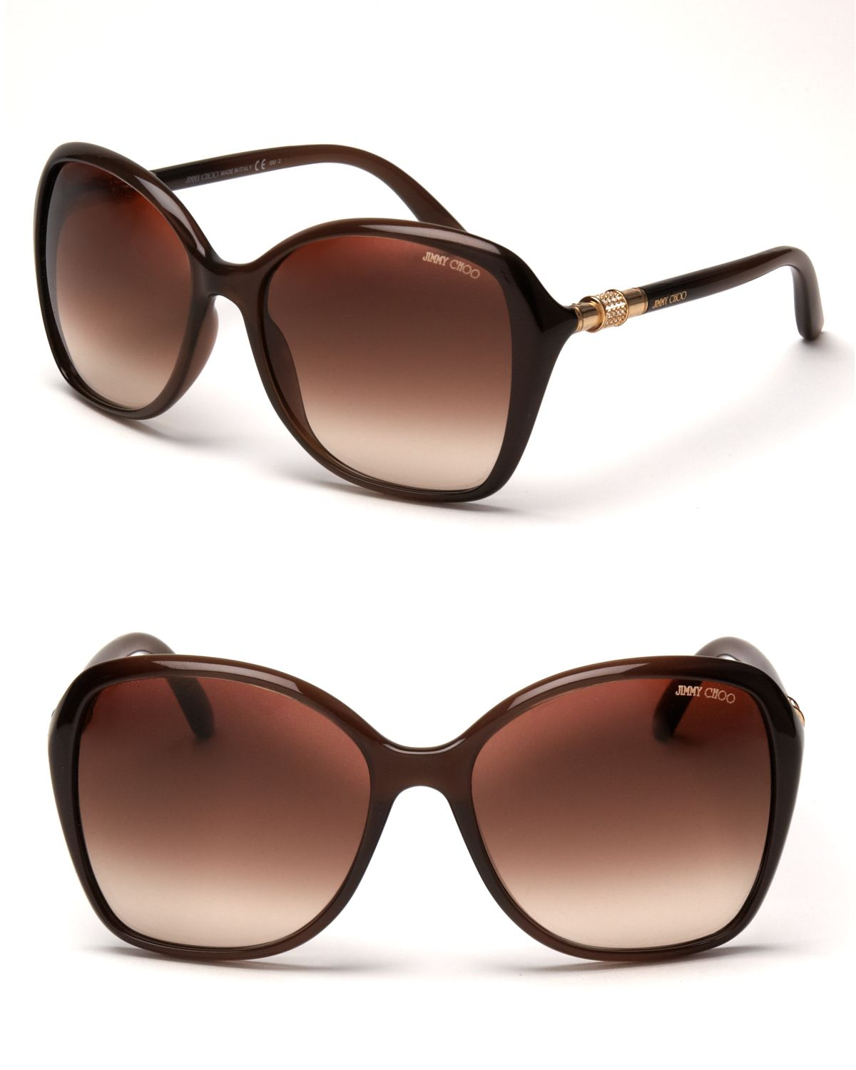 383fd9d05c39 Jimmy Choo Oversized Crystal Temple Sunglasses in Brown - Lyst