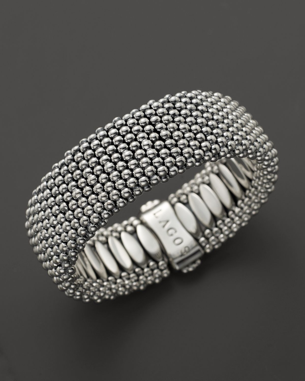 lagos caviar wide bracelet 23 mm in silver no color lyst