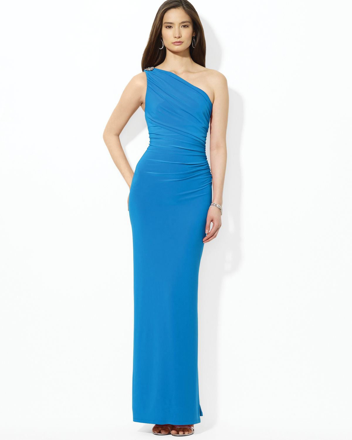 Lauren By Ralph Lauren Floor Length One Shoulder Brooch