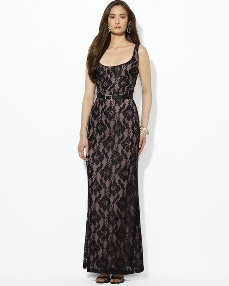 Lauren By Ralph Lauren Scoop Neck Lace Dress in Black (black/nude)