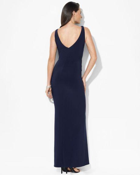 Ralph Lauren Sleeveless Ruffle Jersey Gown In Blue