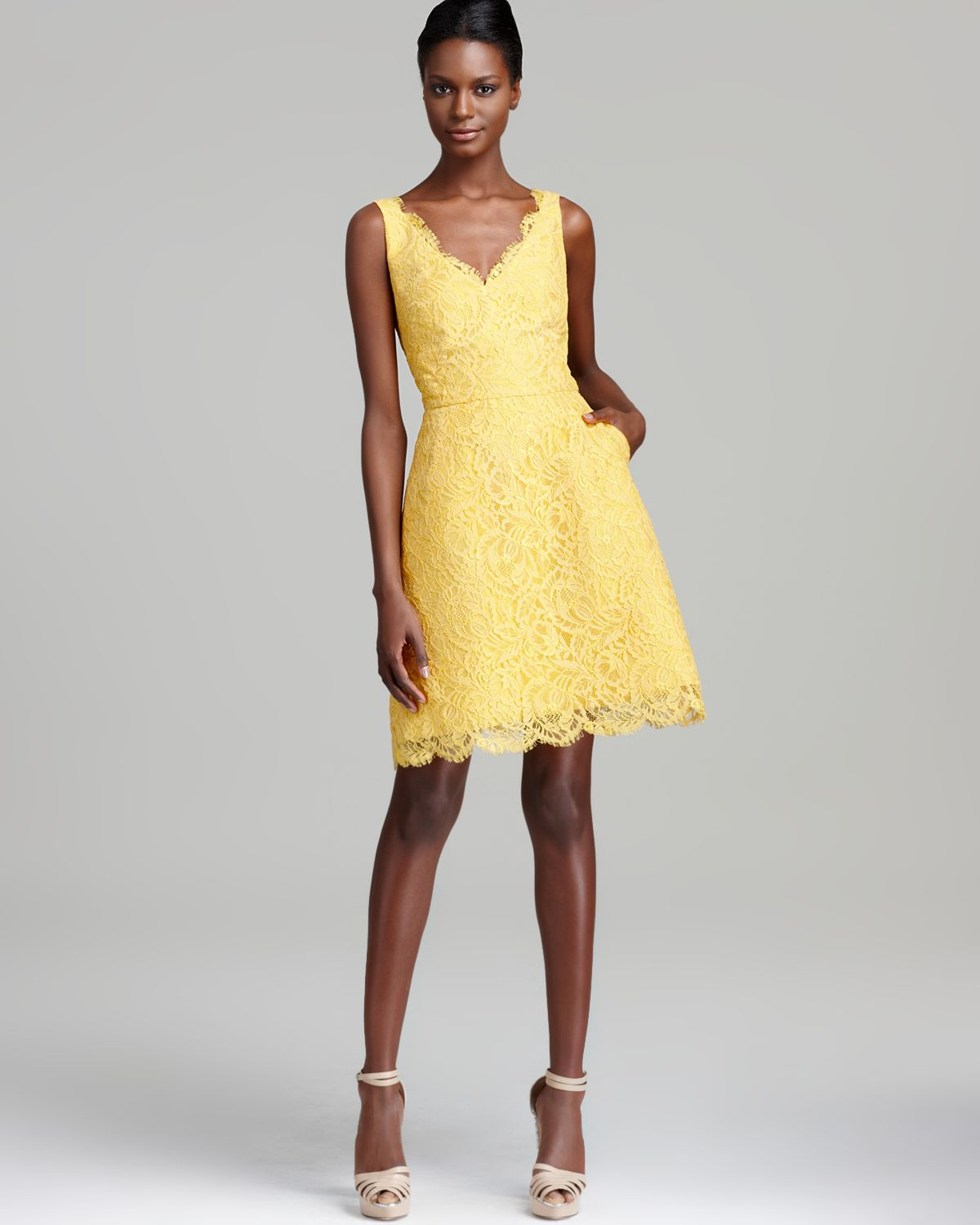 Yellow Lace Cocktail Dress