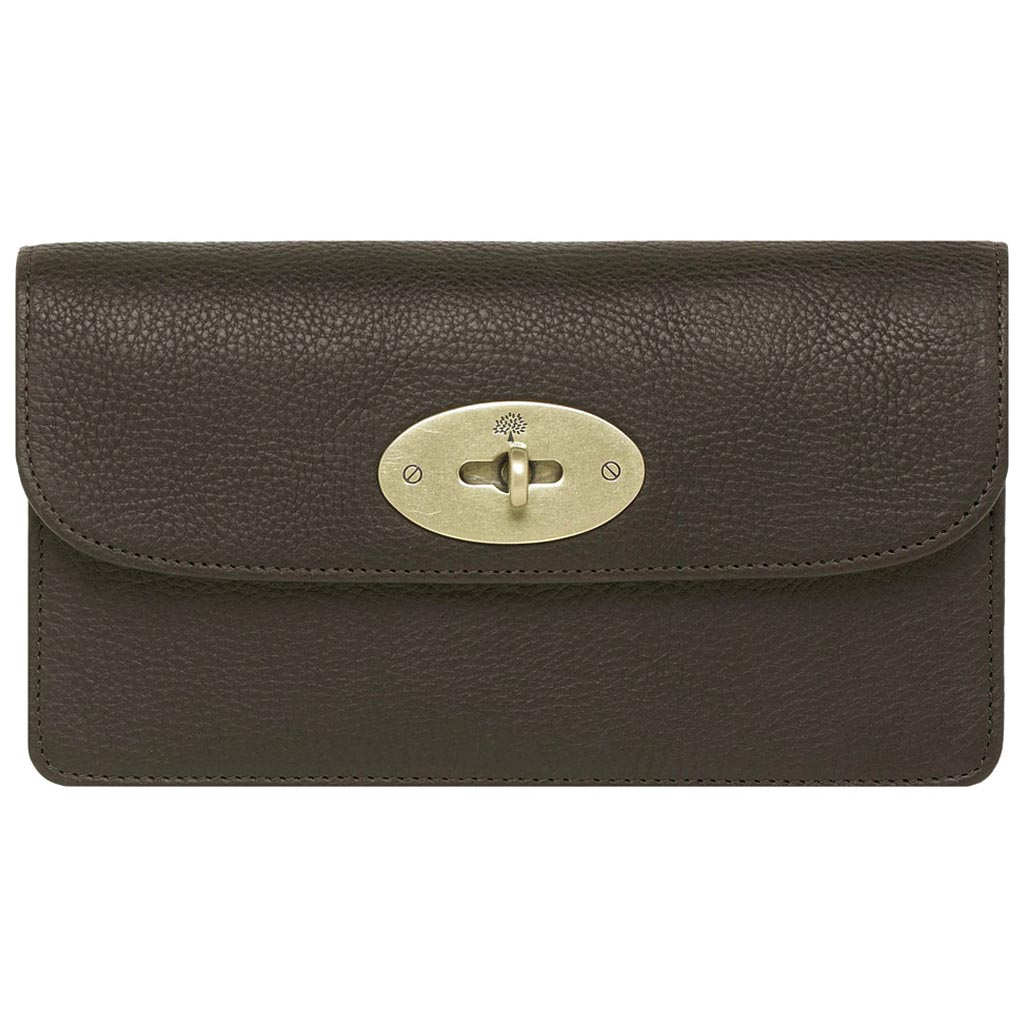 ... real mulberry long locked purse in brown lyst 6a988 e2c92 acf891b6845f0