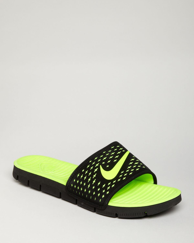 Nike Benassi Solarsoft Men Black-Neon Sandals Limited Time Sale