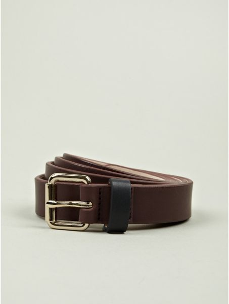 paul smith mens burgundy leather belt in purple for