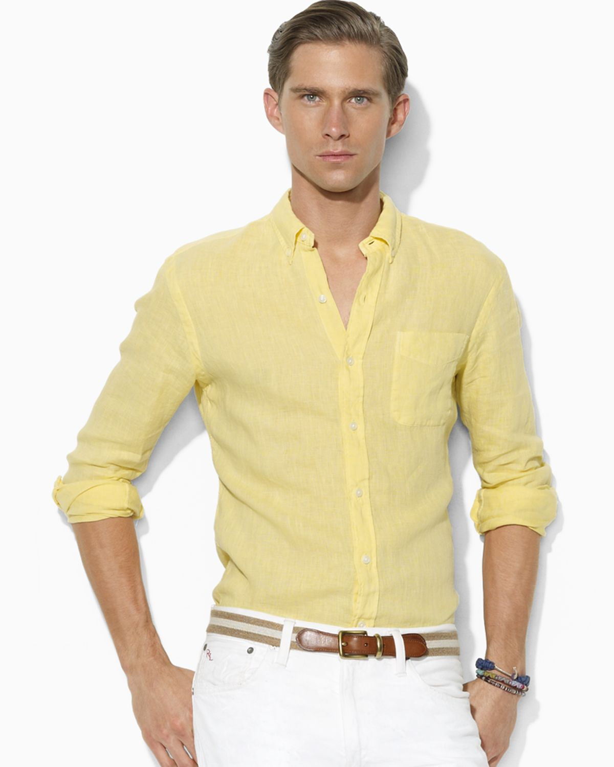 Ralph lauren Polo Customfit Linen Button Down Shirt in Yellow for ...