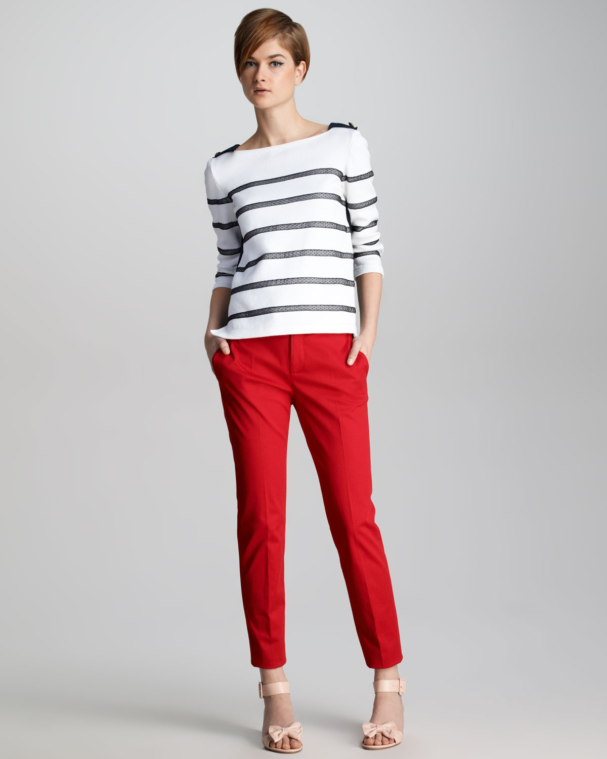 Innovative Clos8 Gtgt Red Color Leather Pant For Women