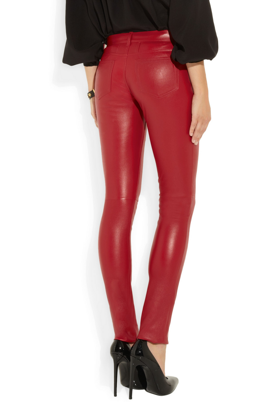 Saint laurent Skinny Stretch-leather Pants in Red