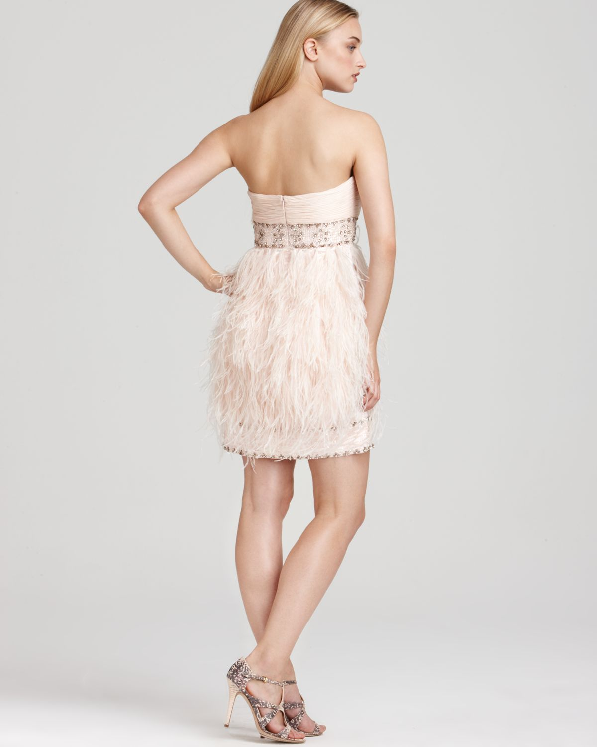 2aa78e9939fc Sue Wong Strapless Feather Dress in Pink - Lyst