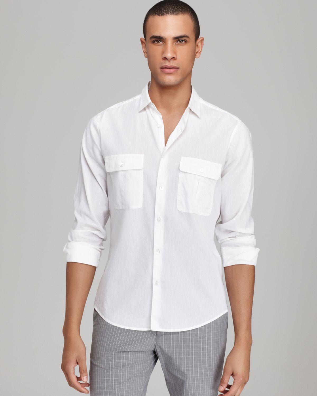 Theory tarren double pocket cotton linen sport shirt slim for Slim fit white linen shirt