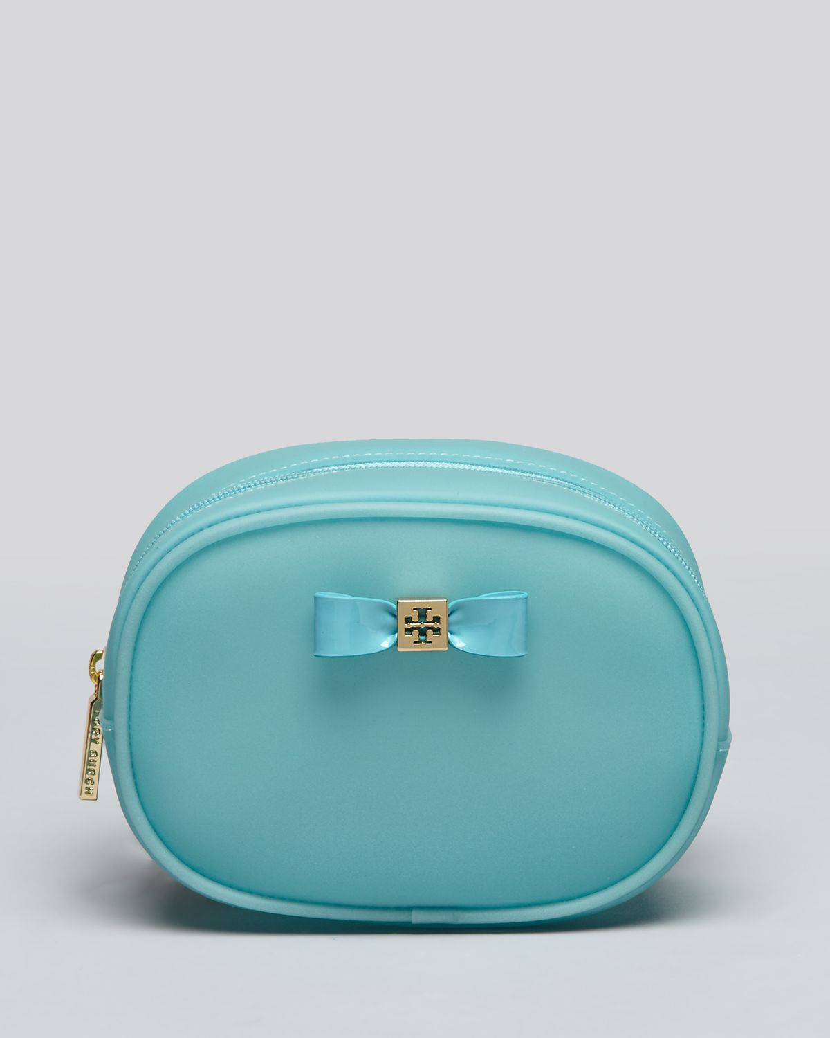 8d3b0761a45 Lyst - Tory Burch Cosmetic Case Bow Jelly Small Classic in Green