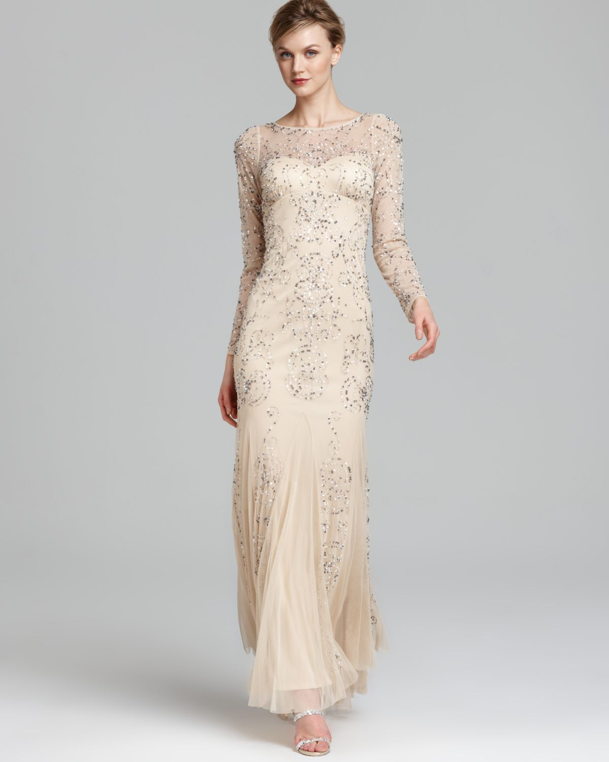 Lyst - Adrianna Papell Beaded Gown Long Sleeve in Natural