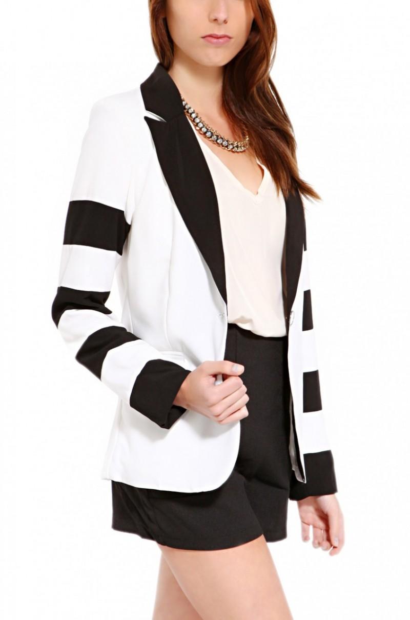 61fc3b7ae086 Lyst - Akira Black Label Striped Sleeve Blazer in White