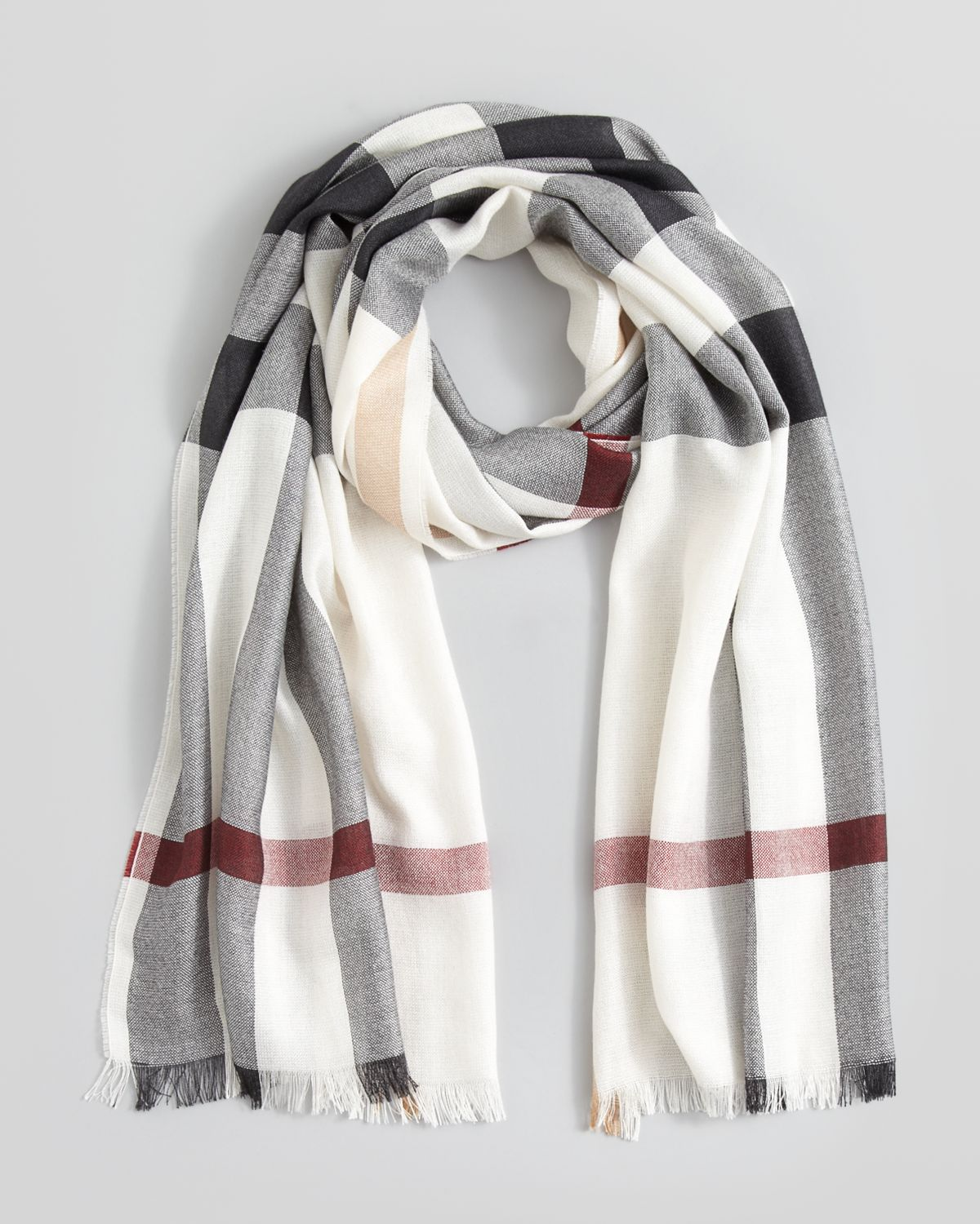 burberry half mega check silk scarf in white lyst