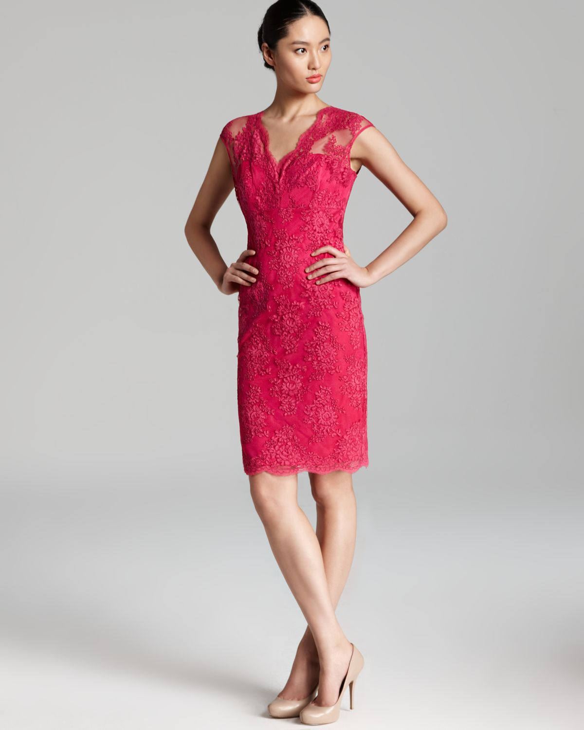 David meister Cap Sleeve Lace Dress in Red | Lyst