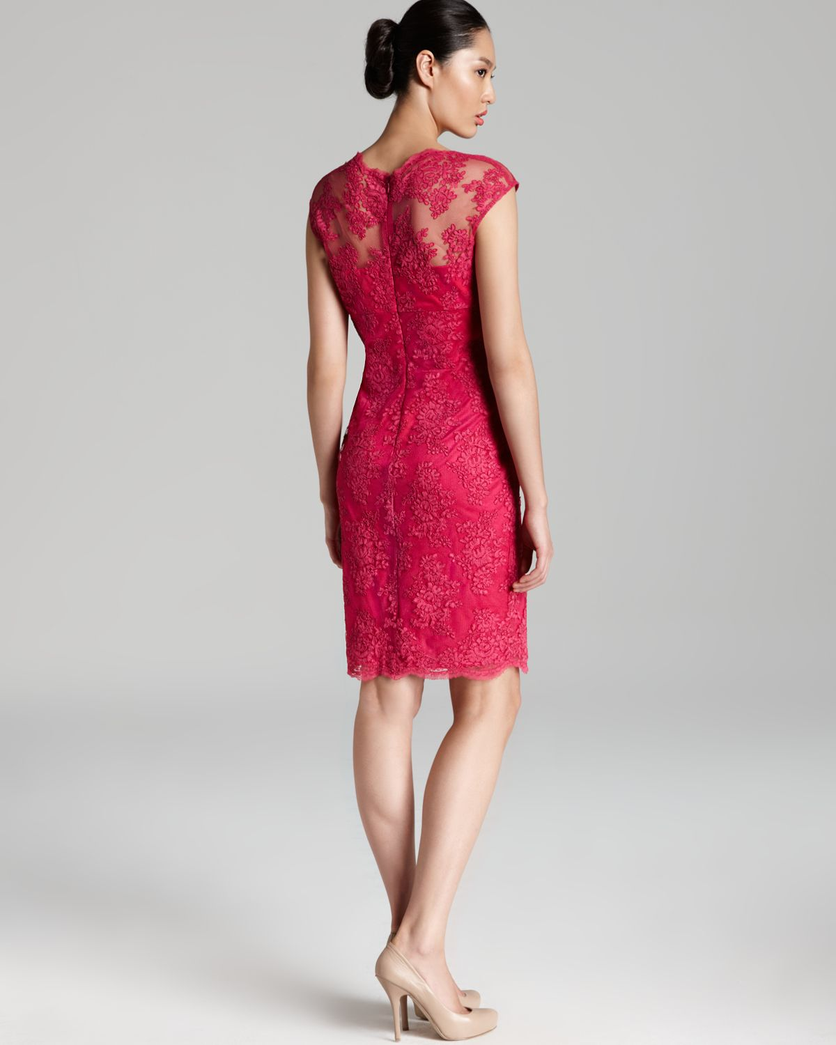 David meister Cap Sleeve Lace Dress in Red  Lyst