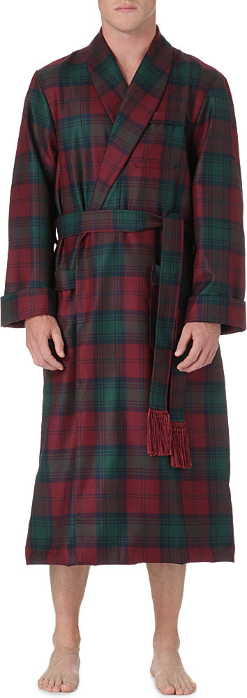 Derek Rose Tartan Wool Dressing Gown in Green for Men - Lyst