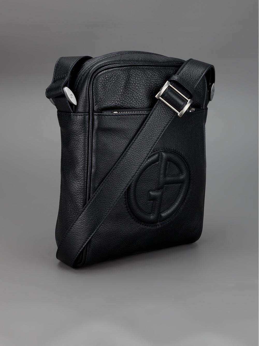 892dd29dce01 Lyst - Giorgio Armani Raised Logo Messenger Bag in Black for Men