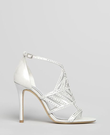 guess sandals hilonas rhine high heel in silver argento lyst. Black Bedroom Furniture Sets. Home Design Ideas
