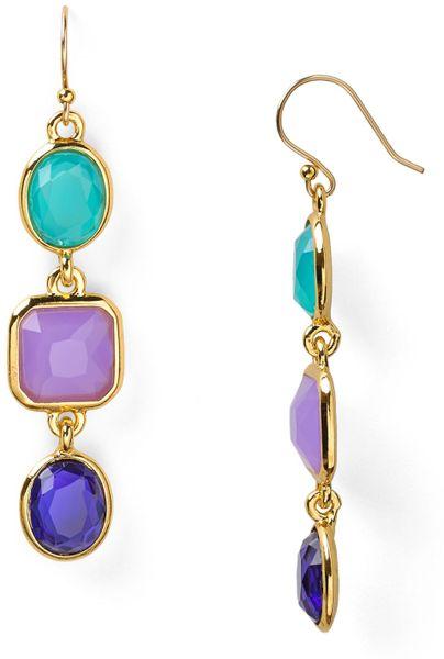 Kate Spade Coated Confetti Linear Earrings In Purple