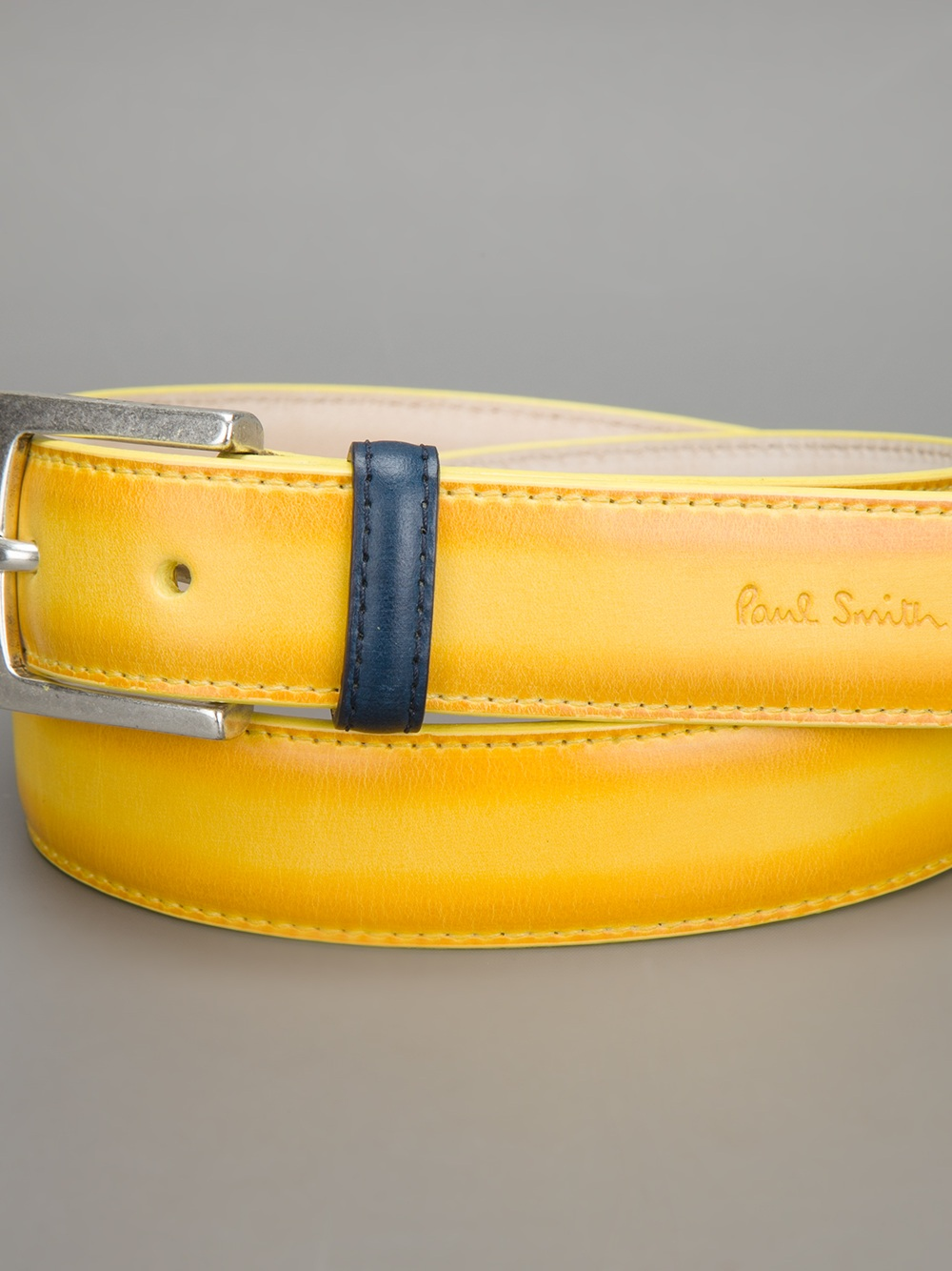 paul smith burnished leather belt in yellow for lyst