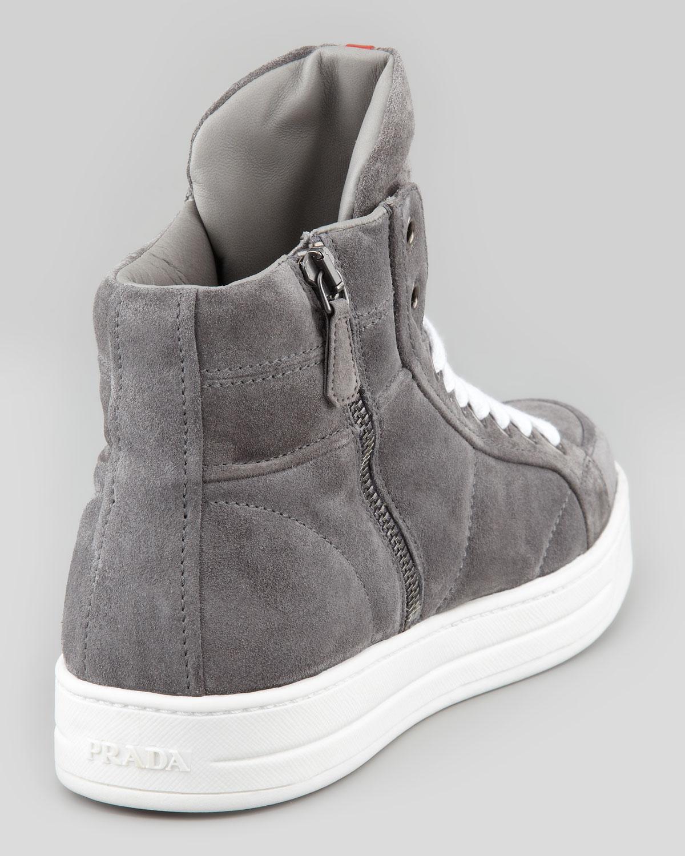 Lyst - Prada Suede Sidezip Hightop Sneaker in Gray 8aae3c4042