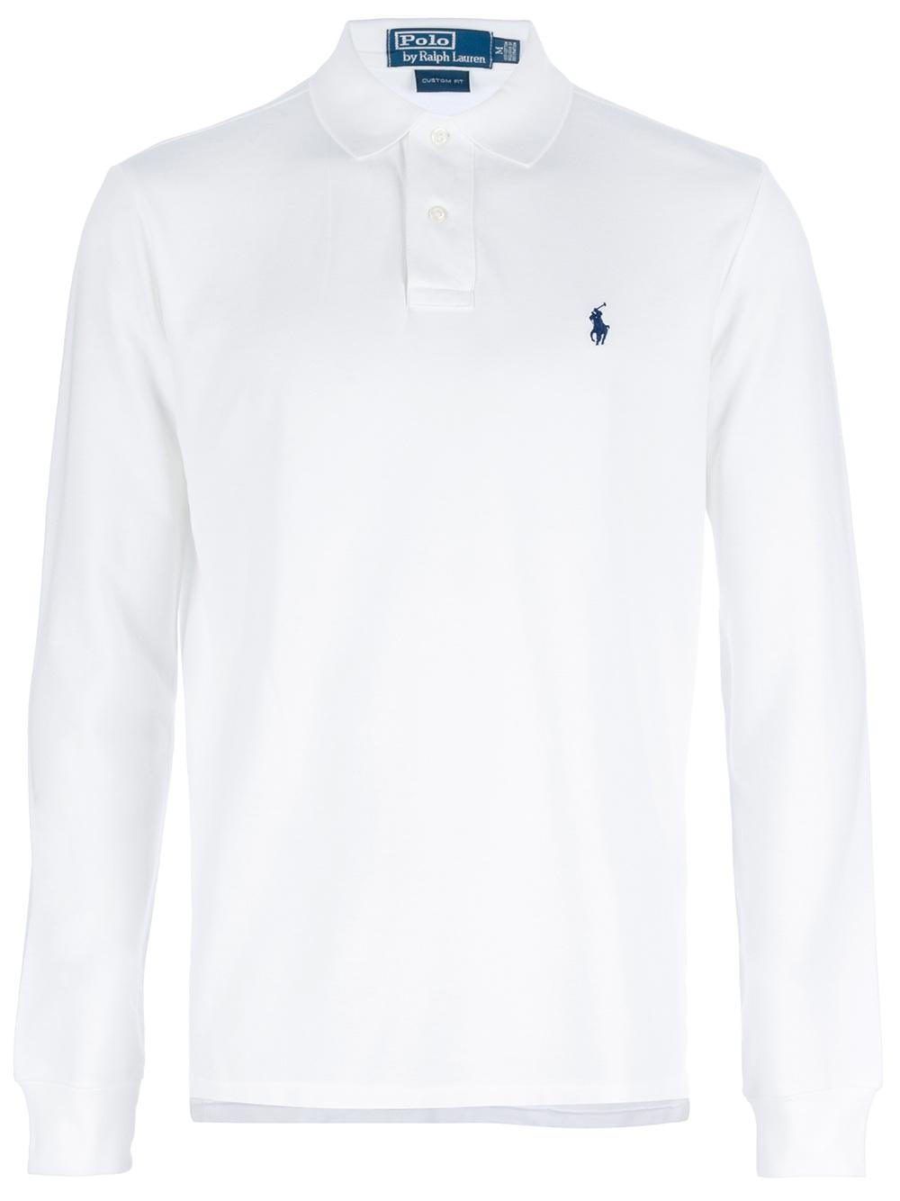 9dfd1eb328 Lyst - Ralph Lauren Blue Label Long Sleeve Polo Shirt in White for Men
