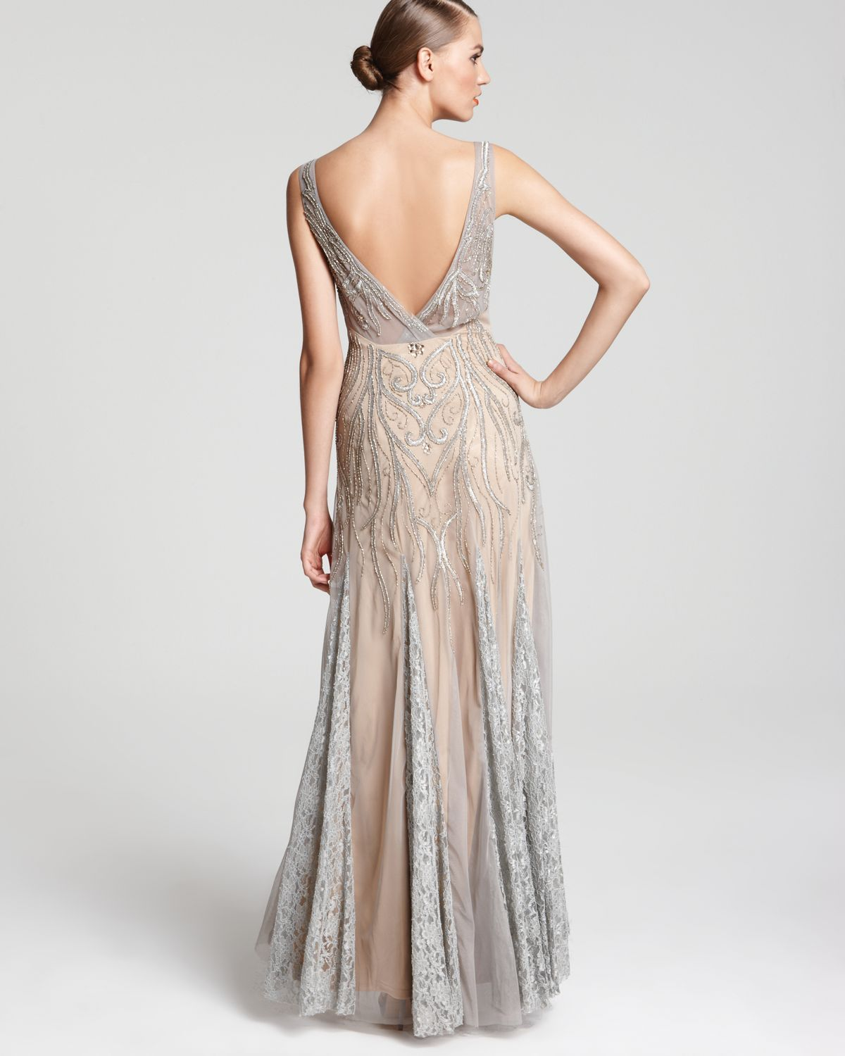 Sue Wong Gown V Neck In Gray