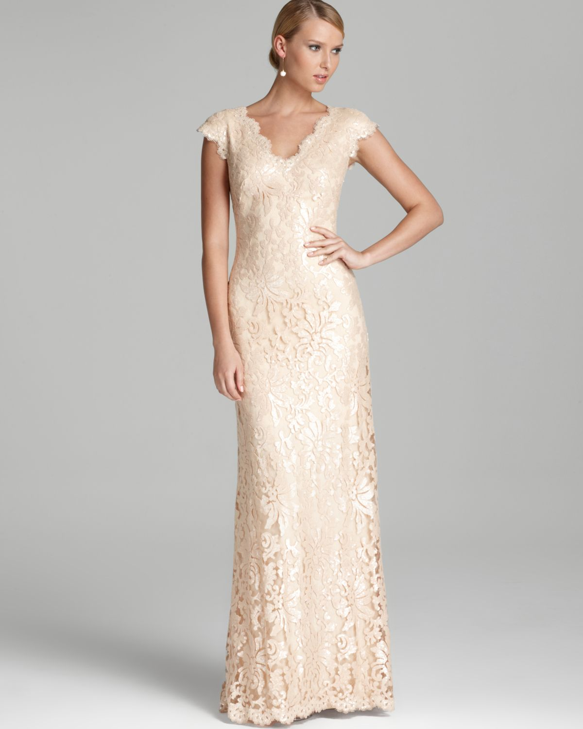 Tadashi Shoji Lace Gown Cap Sleeve V Neck Sequin in White - Lyst