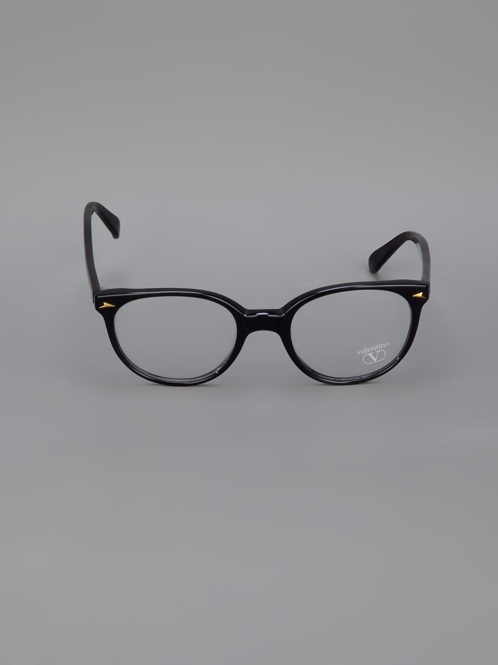 Round Glasses Frame Black : Valentino Round Frame Glasses in Black Lyst