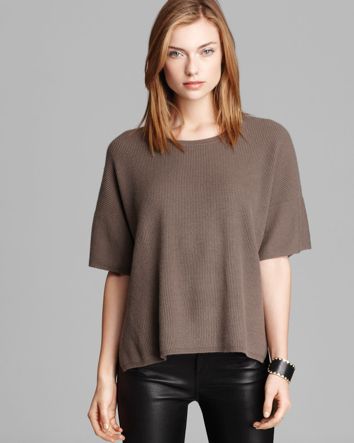 Vince Sweater Short Sleeve Cashmere in Brown | Lyst