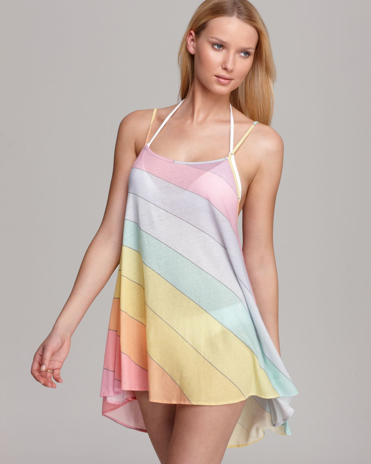 4265f8db0f Wildfox Vintage Rainbow Swimsuit Cover Up in Pink - Lyst