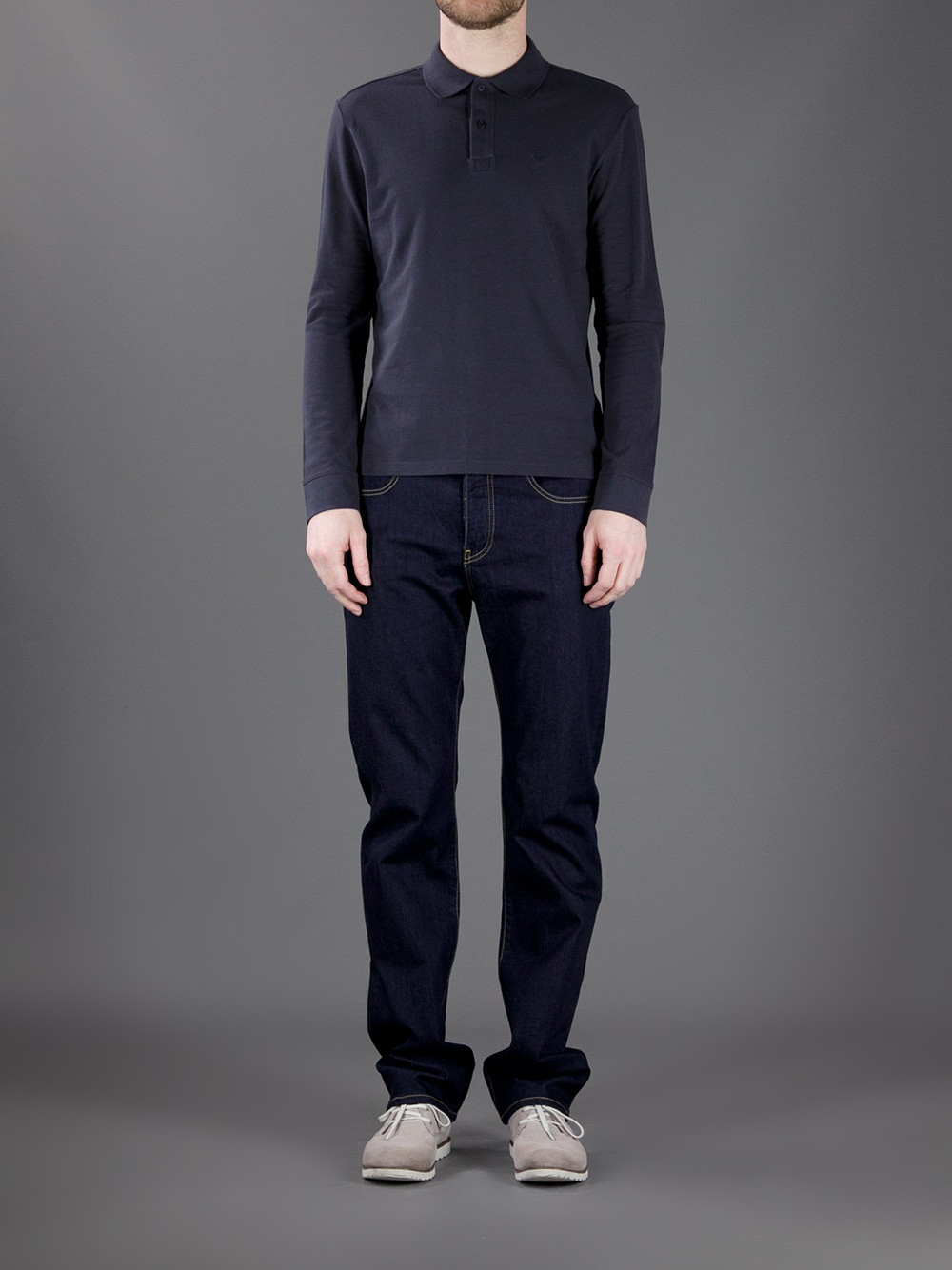 70c7916dbe Armani jeans Long Sleeve Polo Shirt in Blue for Men