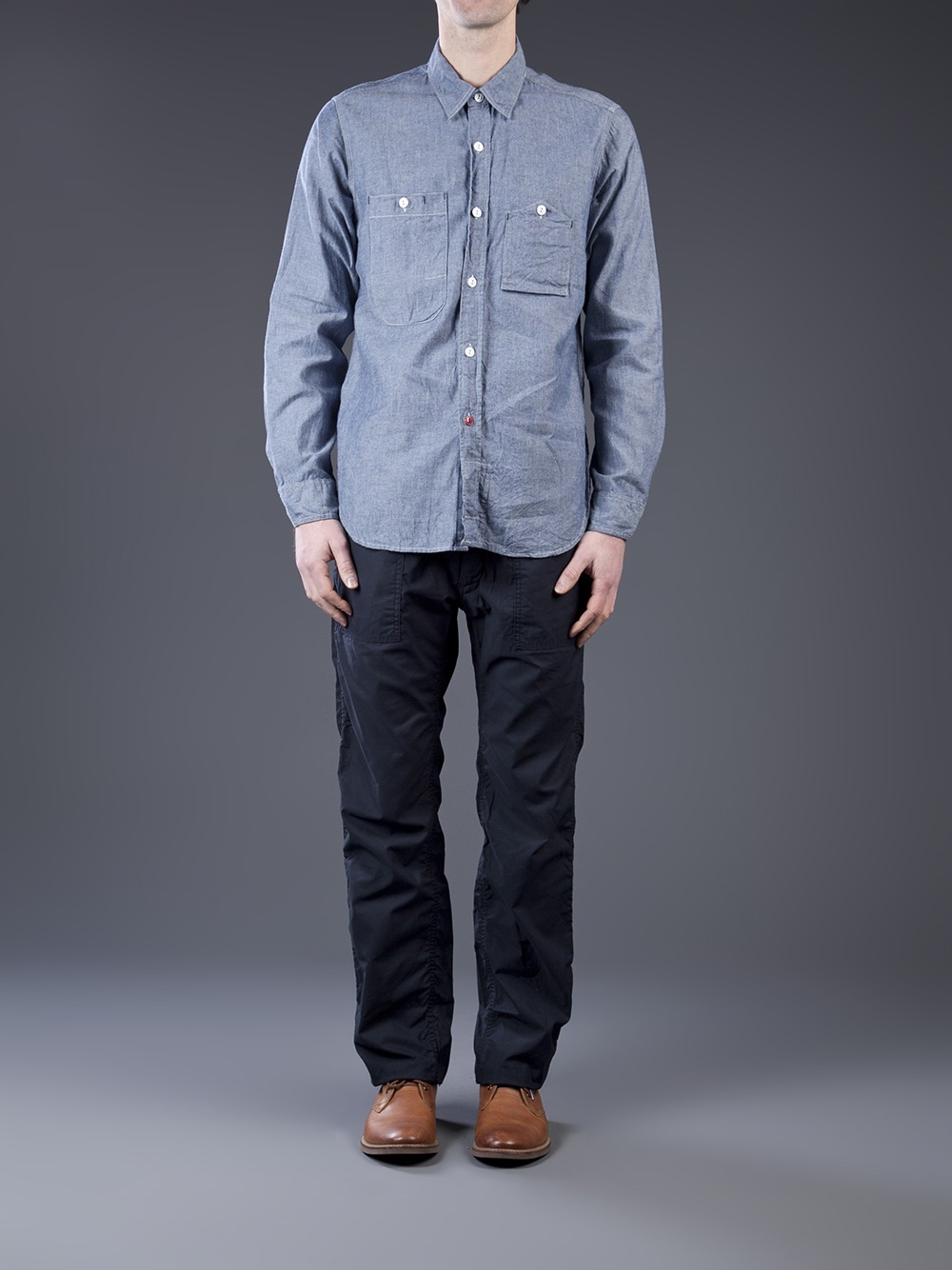 engineered garments work shirt in blue for men lyst
