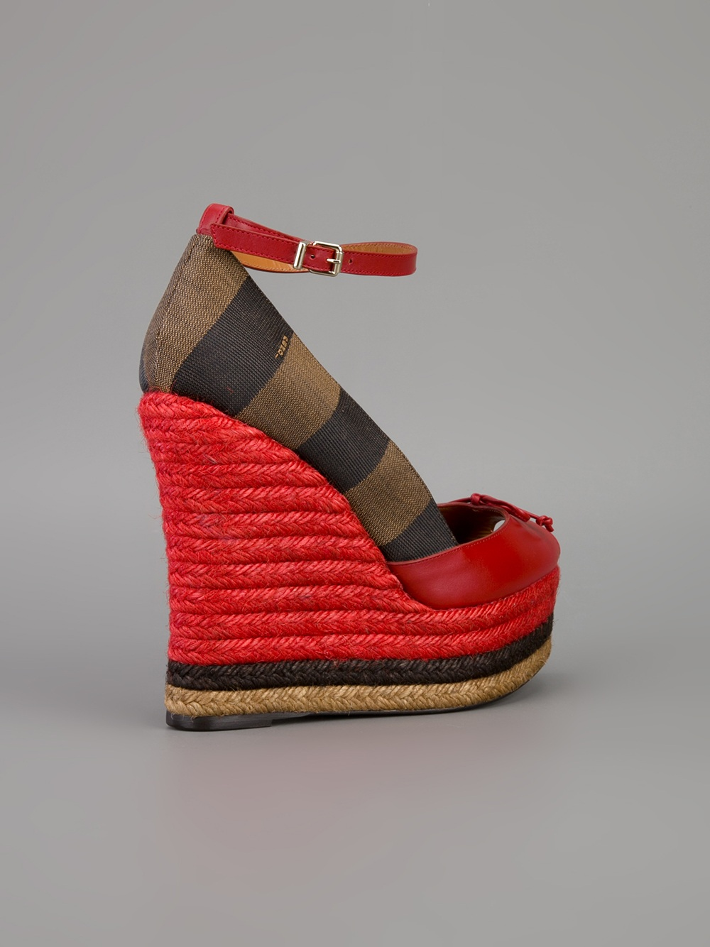 Lyst Fendi Striped Wedges In Red